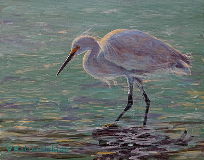 Painting - The White Heron by Valentin Katrandzhiev