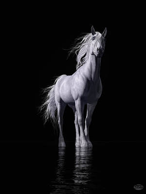 Digital Art - The White Horse by Daniel Eskridge