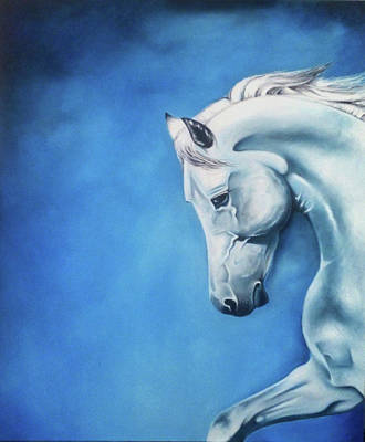 Blue Painting - The White Horse by Janine Bouwer