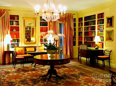 Digital Art - The White House Library by Ed Weidman