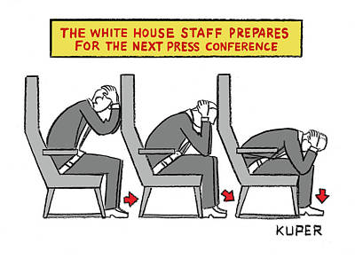 Drawing - The White House Staff Prepares For The Next Press Conference by Peter Kuper