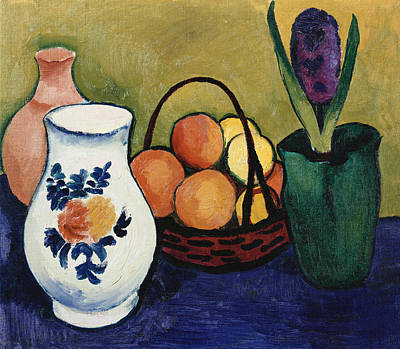 The White Jug With Flower And Fruit Art Print by August Macke