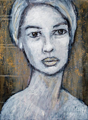Charcoal Mixed Media - The White Lady by Jill Van Iperen