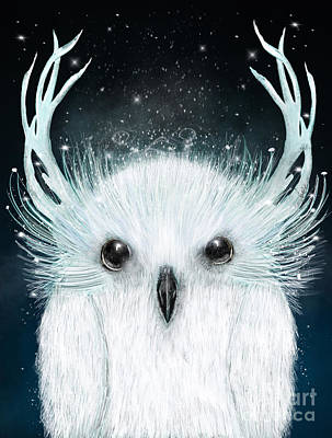 Painting - The White Owl by Bleu Bri