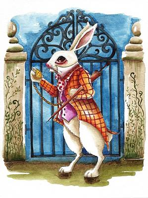 Alice In Wonderland Painting - The White Rabbit Late Again by Lucia Stewart