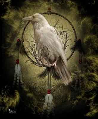 Digital Art - The White Raven by Ali Oppy