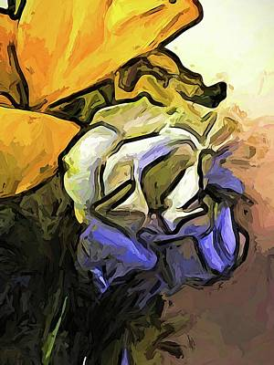 Digital Art - The White Rose And The Yellow Petals by Jackie VanO