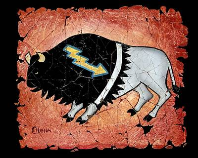 Painting - The White Sacred Buffalo Fresco by OLena Art Brand