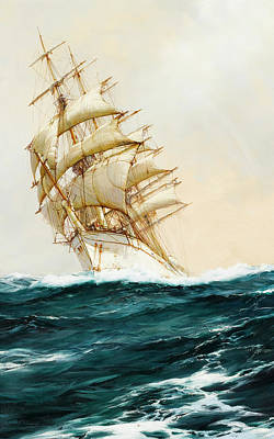 Calming The Storm Painting - The White Ship by Montague Dawson