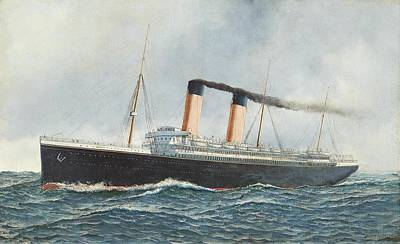 Liner Painting - The White Star Liner Oceanic  At Sea by MotionAge Designs
