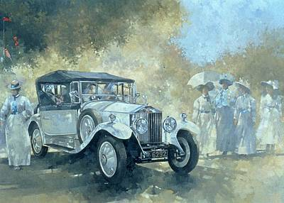 Car Painting - The White Tourer by Peter Miller