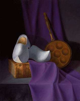 Shoes Painting - The White Wooden Shoes by Christa Eppinghaus