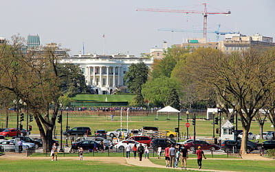 Photograph - The White House With People Cranes Cars Etc. by Cora Wandel