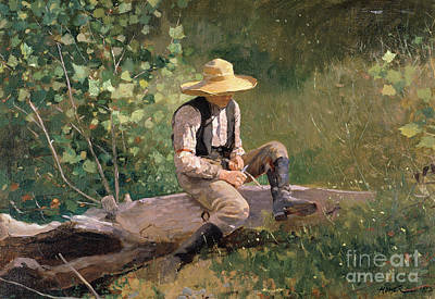 Woodwork Painting - The Whittling Boy by Winslow Homer