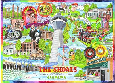 The Who, What And Where Of The Shoals Of Alabama Art Print