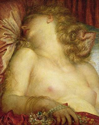 Bed Painting - The Wife Of Plutus by George Frederic Watts