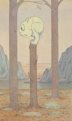 The Wiggle Much Creature On A Tree Stump Looking At A Bug Art Print by Herbert Crowley