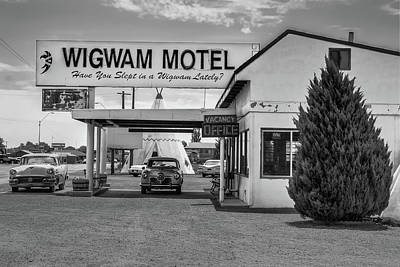 Photograph - The Wigwam Motel - Historic Route 66 Bw - Holbrook Arizona by Gregory Ballos