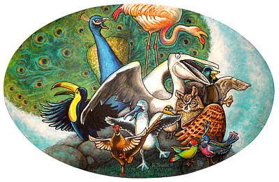 Wall Art - Painting - The Wild Birds Jamboree by Rich Travis