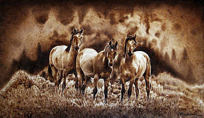 Pyrography - The Wild Trio - On Paper by Dino Muradian