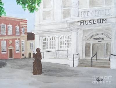 Painting - The Willis Museum Basingstoke With Jane Austen Statue by Karen Jane Jones