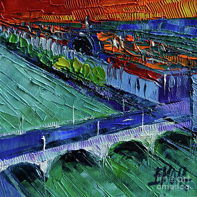 Painting - The Wilson Bridge - Modern Impressionist Stylized Cityscape by Mona Edulesco