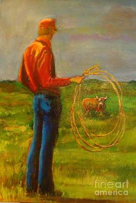 Steer Painting - The Wily One by Leslie Dobbins