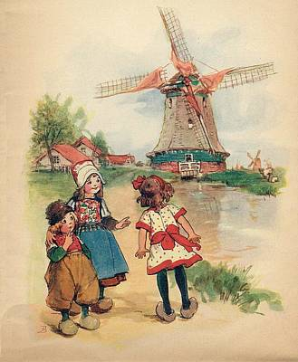 The Windmill And The Little Wooden Shoes Art Print by Reynold Jay