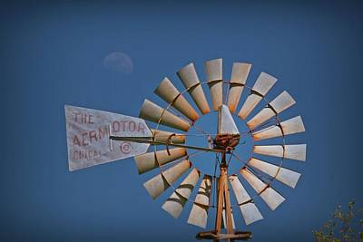 Photograph - The Windmill And The Moon by Linda Unger