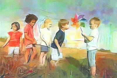 Painting - The Windmill Game by Wayne Pascall