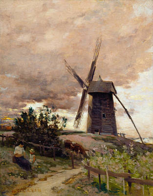French Cow Painting - The Windmill by Jean-Charles Cazin
