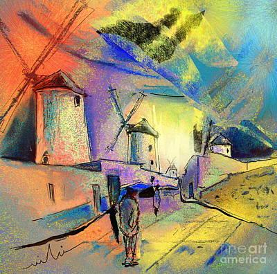 Don Quixote Painting - The Windmills Del Quixote 02 by Miki De Goodaboom