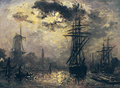 Boats In Harbor Painting - The Windmills In Rotterdam by Johan Barthold Jongkind
