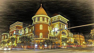 President Carter Photograph - The Windsor Hotel - Americus, Ga - Digital Sketch by Stephen Stookey