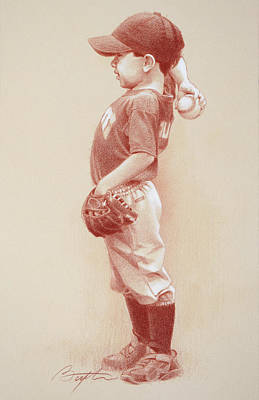 Softball Wall Art - Drawing - The Windup by Todd Baxter