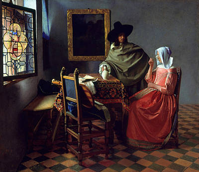 Painting - The Wine Glass by Johannes Vermeer