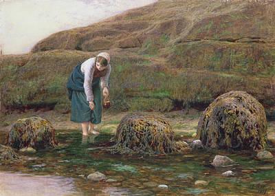 Wading River Painting - The Winkle Gatherer by John Dawson Watson