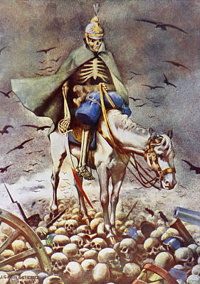 Human Skull Drawing - The Winner. Death Riding Over Human by Vintage Design Pics