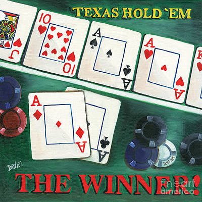 Poker Painting - The Winner by Debbie DeWitt