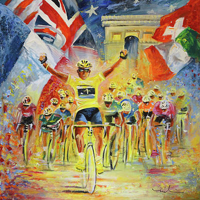 Sports Paintings - The Winner Of The Tour De France by Miki De Goodaboom