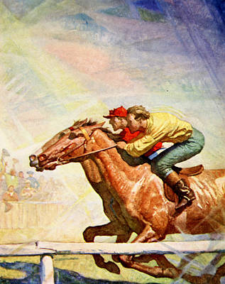 Running Horses Drawing - The Winning Post by Newell Convers Wyeth