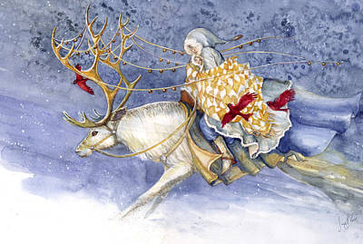 Reindeer Painting - The Winter Changeling by Janet Chui