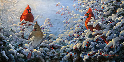 Painting - The Winter Garden And Cardinals by Valentin Katrandzhiev