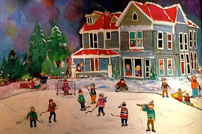 The Winter  Hockey Game Original by Michael Litvack