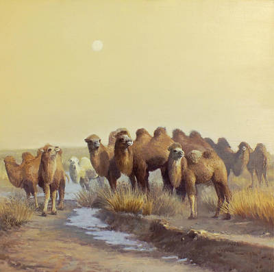 Camels Painting - The Winter Of Desert by Chen Baoyi