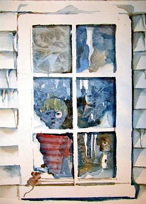 Drawing - The Winter Peep Hole by Mindy Newman