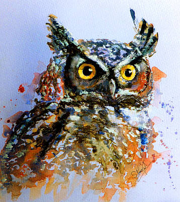 Colored Owl Painting - The Wise Old Owl by Steven Ponsford