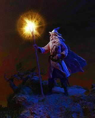 Digital Art - The Wise Old Wizard by Dave Luebbert