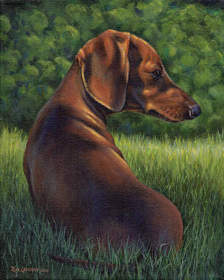 Painting - The Wise Wiener Dog by Kim Lockman