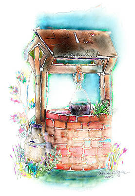 Garden Mixed Media - The Wishing Well by Arline Wagner
